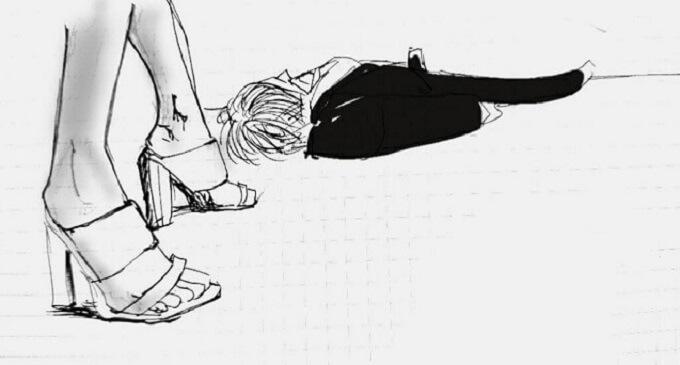 女性の足と倒れてる男性のイラスト