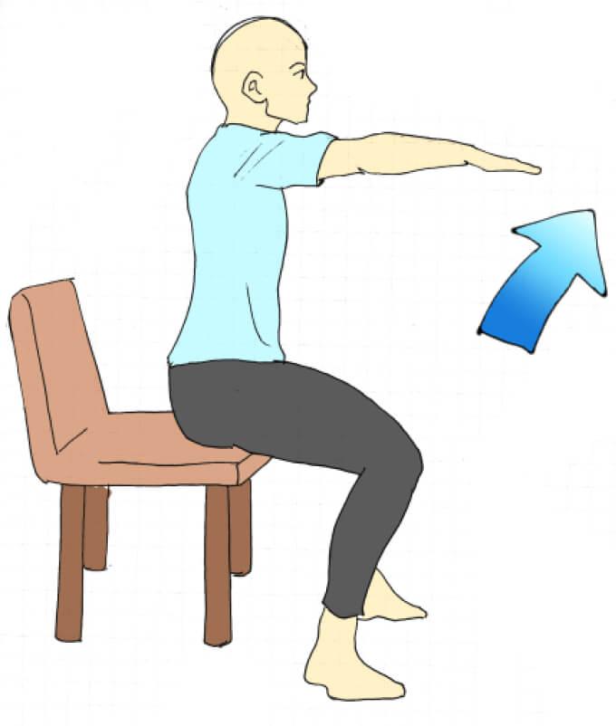 椅子に座ったスクワットのやり方が描かれたイラスト