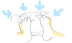 足の指を使ってタオルを手繰り寄せるイラスト