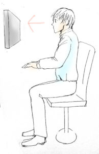 デスクワークの正しい座り方を描いたイラスト