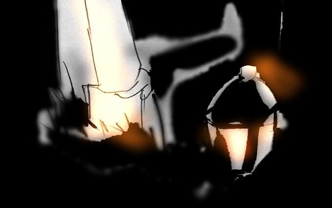 ランプに照らされた手のイラスト