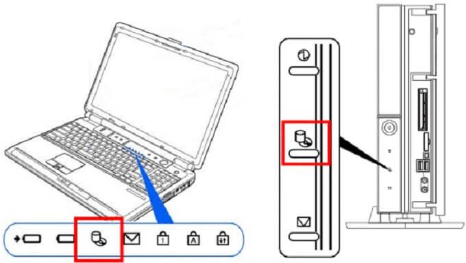 パソコンのハードディスクアクセスランプ